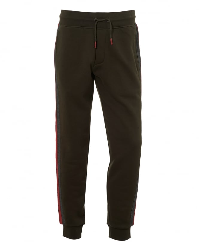 Armani Jeans Mens Contrast Red Tape Trackpants, Olive Green Sweatpants
