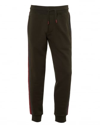 Mens Contrast Red Tape Trackpants, Olive Green Sweatpants