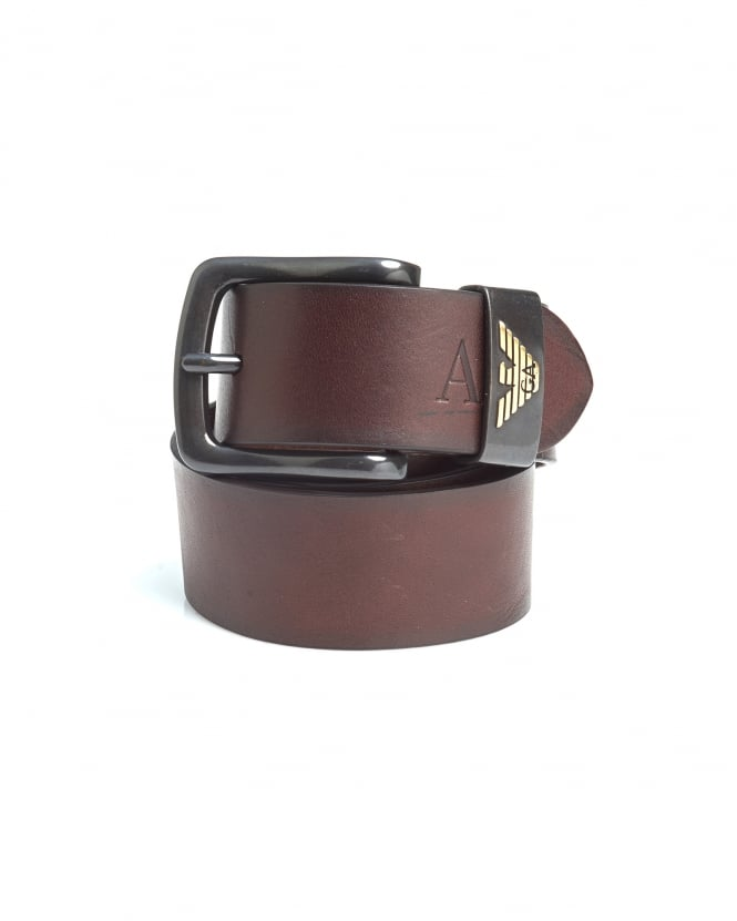 Armani Jeans Mens Dark Brown Eagle Logo Leather Belt