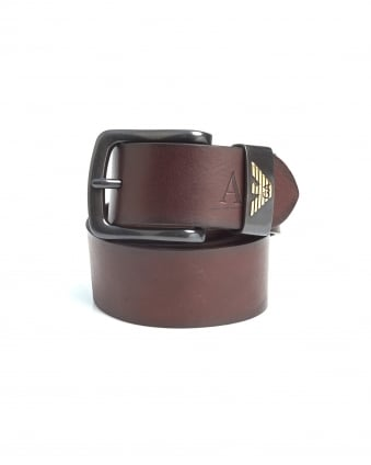 Mens Dark Brown Eagle Logo Leather Belt