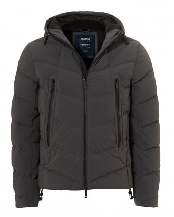 Mens Down Puffa Water Repellent Grey Jacket