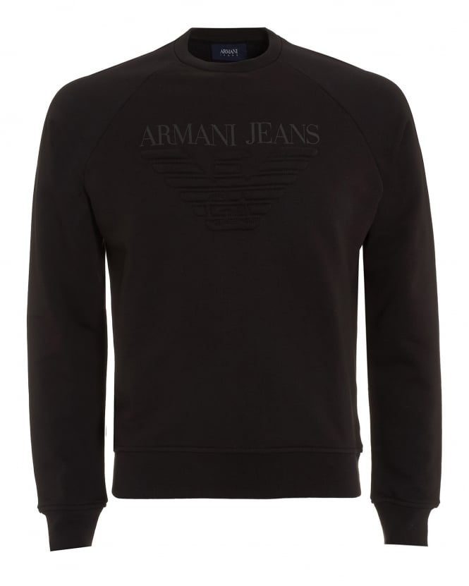 Armani Jeans Mens Eagle Sweatshirt, Crew Neck Black Jumper