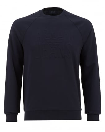 Mens Embossed Logo Sweatshirt, Navy Blue Jumper