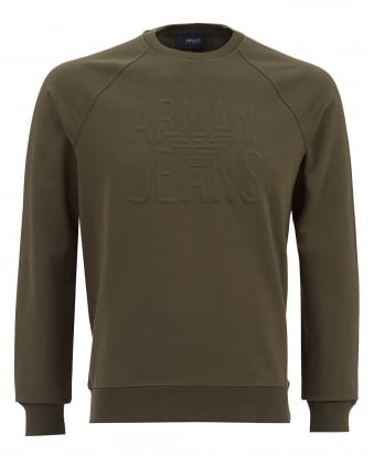 Mens Embossed Logo Sweatshirt, Olive Green Jumper
