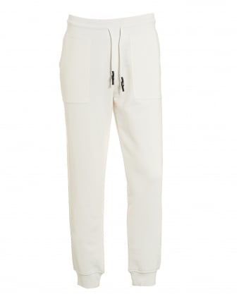 Mens Embroidered Trackpants, Cuffed White Sweatpants