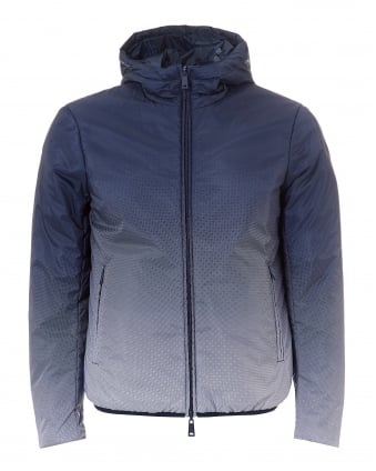 Mens Faded Jacket, Reversible Hooded Navy Blue Jacket