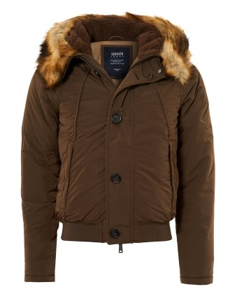 Mens Faux Fur Trim Hood Jacket, Brown Coat