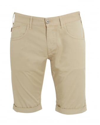 Mens Five Pocket Regular Slim Fit Beige Shorts