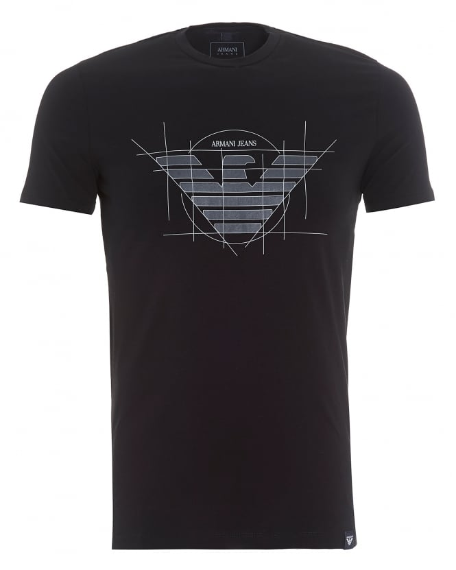 Armani Jeans Mens Geo-Drawn Eagle T-Shirt, Logo Black Tee