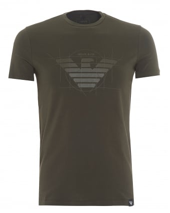 Mens Geo-Drawn Eagle T-Shirt, Logo Olive Green Tee