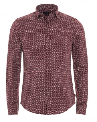 Mens Geometric Print Burgundy Navy Cotton Shirt