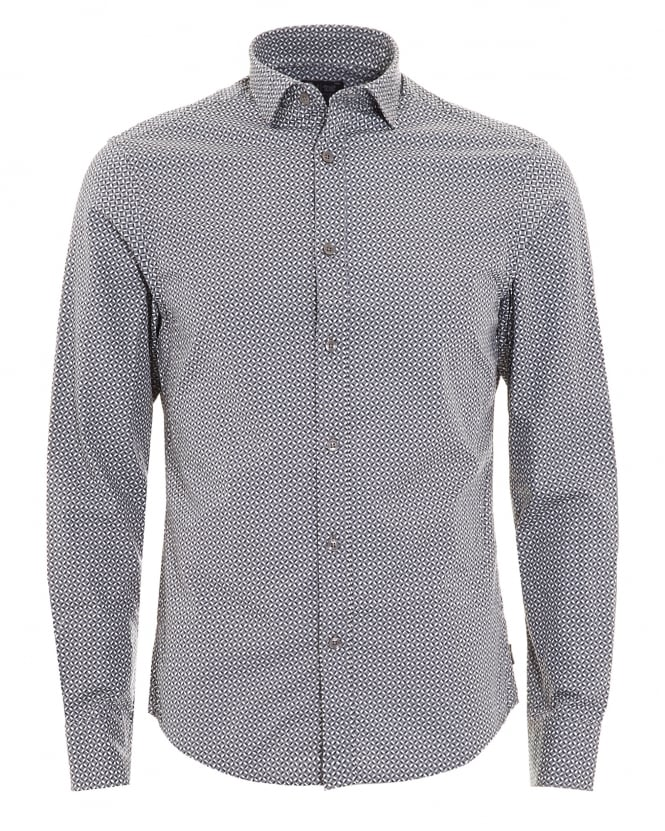 Armani Jeans Mens Geometric Print Grey Cotton Shirt