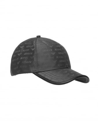 Mens Hat, Black Logo Baseball Cap