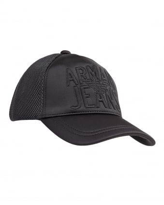 Mens Hat, Mesh Logo Black Cap