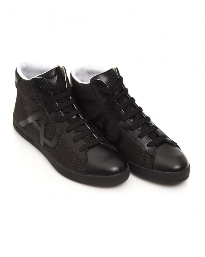 Armani Jeans Mens Hi-Top Mesh Leather Black Trainers
