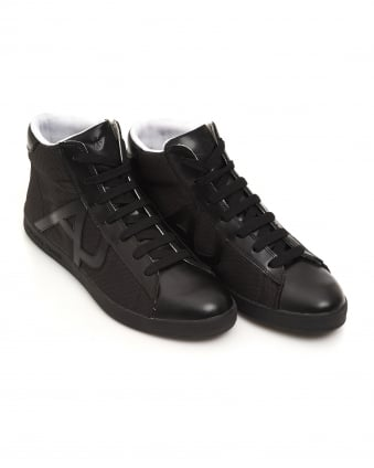 Mens Hi-Top Mesh Leather Black Trainers