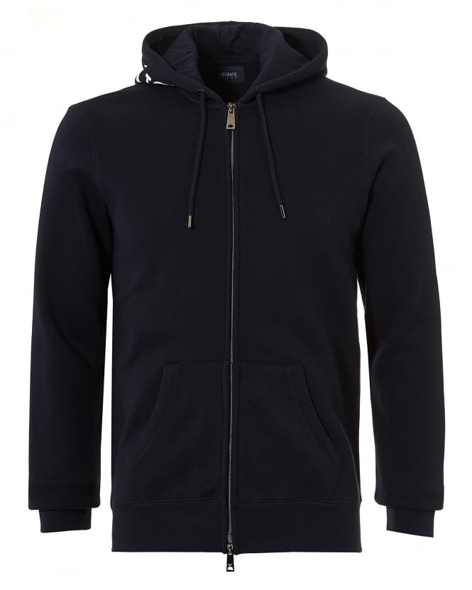 Armani Jeans Mens Hood Logo Hoodie, Zip Up Navy Blue Sweatshirt