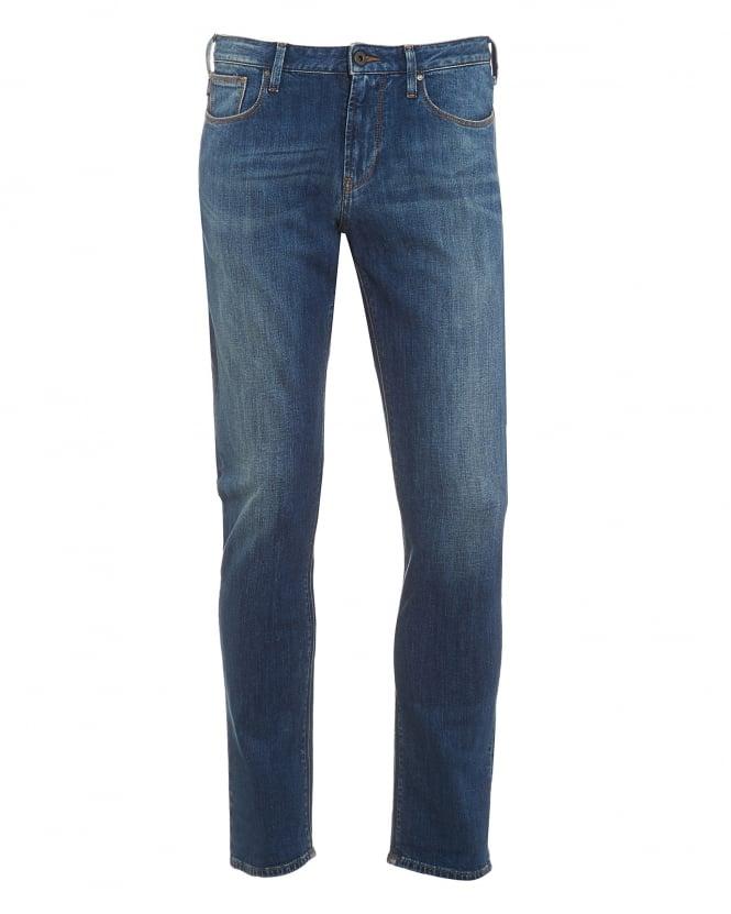 Mens J06 Jeans, Blue Stonewash Slim Fit Denim