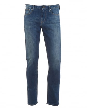 Mens J06 Jeans, Blue Stonewash Slim Fit Denim