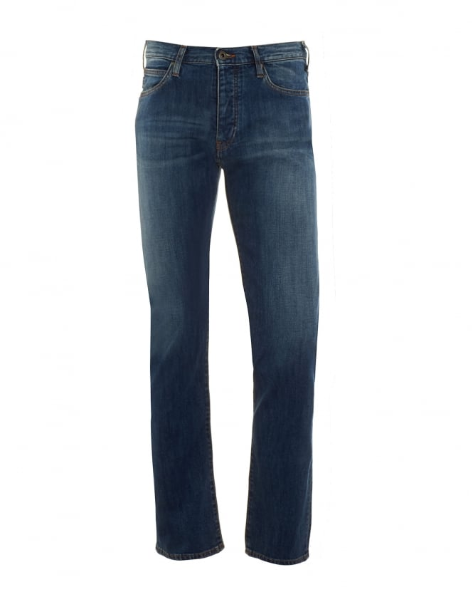 Armani Jeans Mens J06 Jeans, Blue Stonewashed Fade Slim Fit Denim