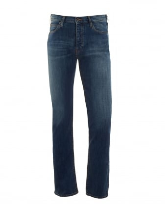 Mens J06 Jeans, Blue Stonewashed Fade Slim Fit Denim