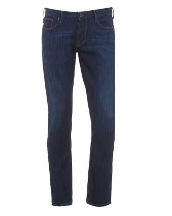Mens J06 Jeans, Dark Blue Slim Fit Denim