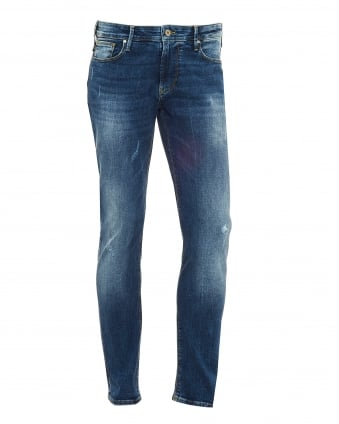 Mens J06 Jeans, Distressed Whiskered Slim Fit Denim