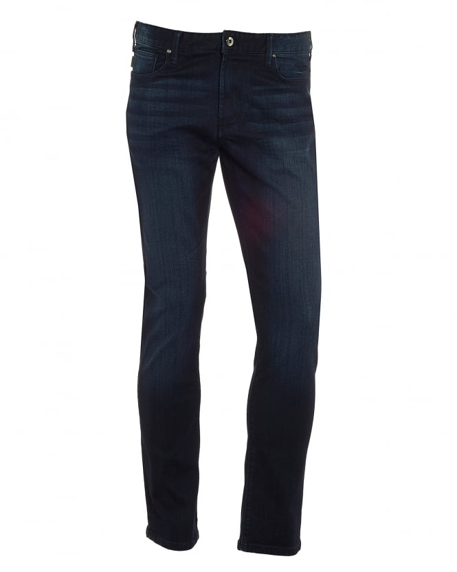 Armani Jeans Mens J06 Jeans, Faded Dark Ink Slim Fit Denim