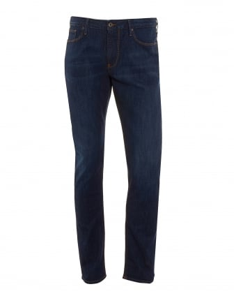 Mens J06 Jeans, Navy Blue Comfort Stretch Slim Fit Denim