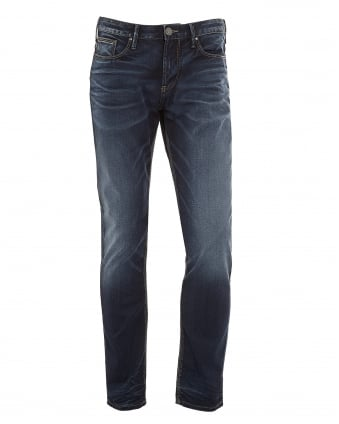 Mens J06 Jeans, Slim Fit Blue Faded Denim