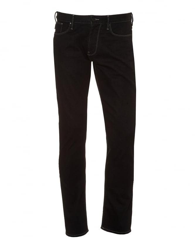 Mens J06 Jeans, Slim Fit Chalk Stitching Black Denim