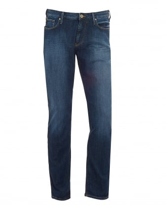Mens J06 Jeans, Whiskered Thighs Slim Fit Denim
