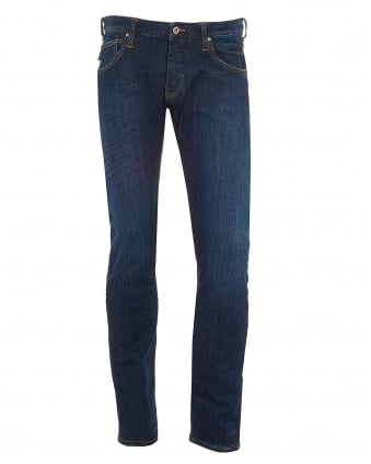 Mens J20 Jeans, Extra Slim Whiskered Thighs Denim