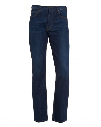 Mens J21 Jean, Dark Blue Straight Leg Stretch Denim