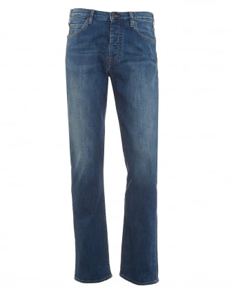 Mens J21 Jeans, Faded Blue Regular Fit Denim