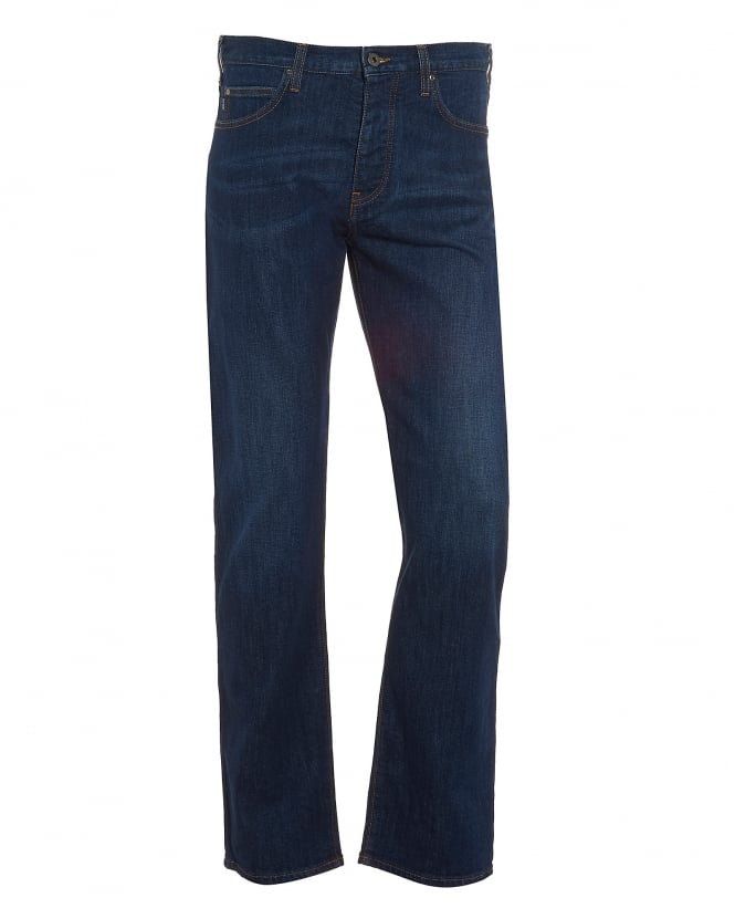 Armani Jeans Mens J21 Jeans, Regular Fit Tobacco Stitch Mid Wash Denim