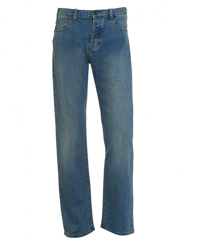 Armani Jeans Mens J21 Jeans, Yellow Stitching Light Whisker Denim