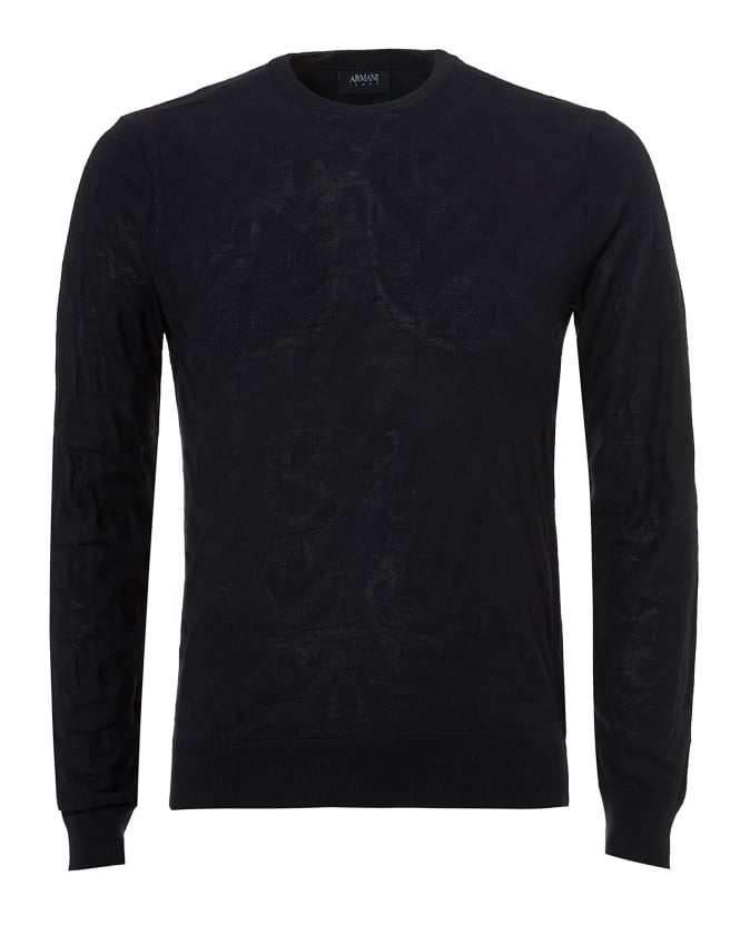 Armani Jeans Mens Jacquard All Over Eagles Knit, Navy Blue Jumper