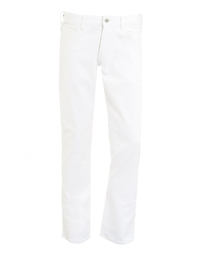 Armani Jeans Mens Jeans, White Slim Fit Comfort Stretch Denim