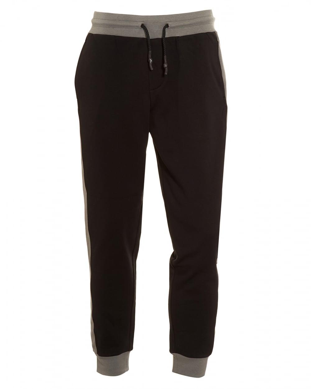 Mens Joggers, Grey Panel Black Logo Track Pants