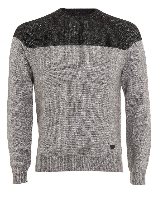 Armani Jeans Mens Jumper, Black Colour Block Grey Knitwear