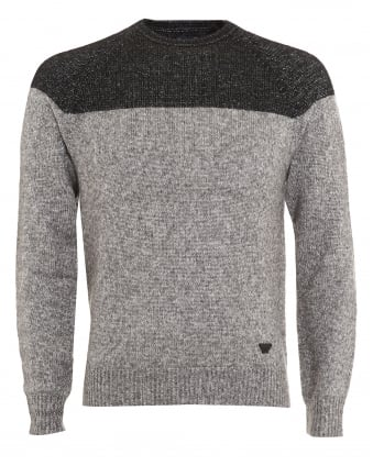 Mens Jumper, Black Colour Block Grey Knitwear