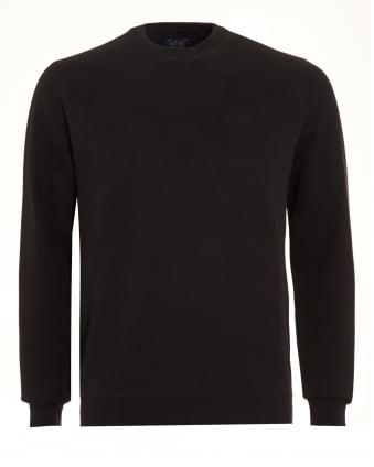 Mens Jumper, Black Crew Neck Tonal Logo Sweatshirt