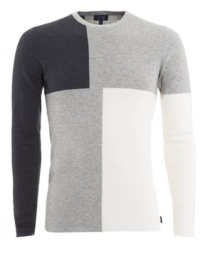 Armani Jeans Mens Jumper, Black Grey Colour Block Knitwear