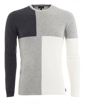 Mens Jumper, Black Grey Colour Block Knitwear