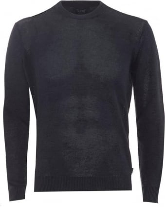 Mens Jumper Crew Neck Cotton Blend Blue Sweater