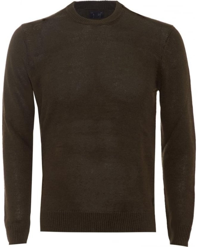 Armani Jeans Mens Jumper Crew Neck Cotton Blend Olive Green Sweater