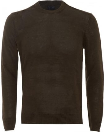 Mens Jumper Crew Neck Cotton Blend Olive Green Sweater