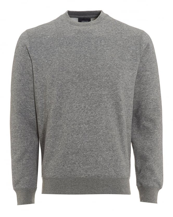 Armani Jeans Mens Jumper, Logo Crew Neck Grey Sweatshirt