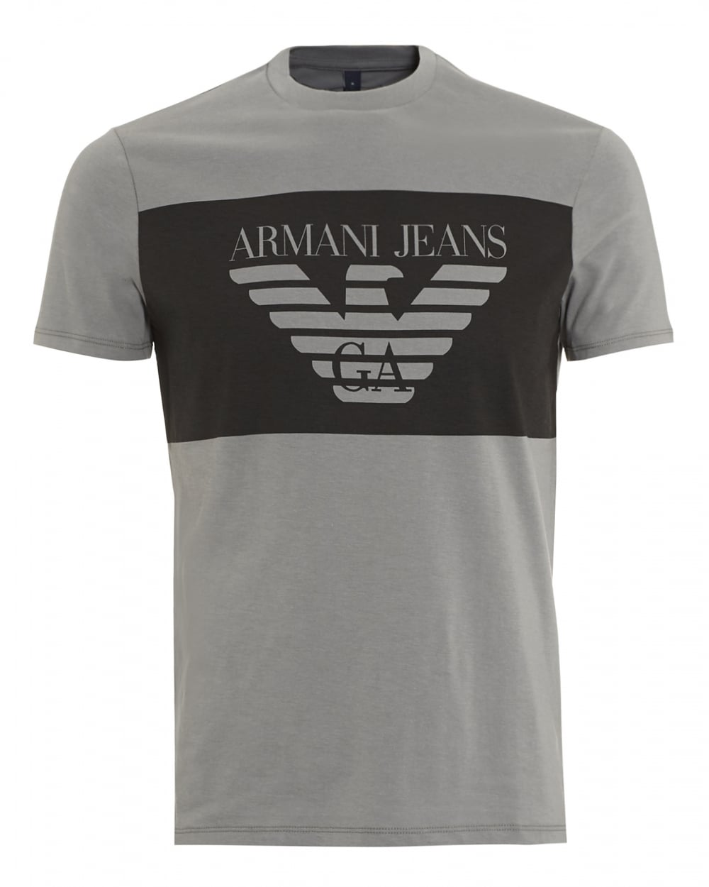 Armani jeans mens large block t shirt regular fit grey tee for Men s regular fit shirts